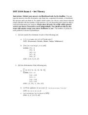 COT 2104 Exam 1 – Set Theory