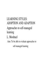 W2 - Aproaches to learning. Learning styles