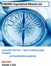 GSBS6004 L9 Part 2 Transformational Leadership 2015 Weblearn