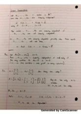Linear Independence Lecture Notes