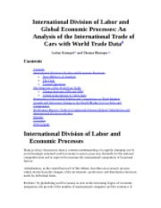 International Division of Labor and Global Economic Processes An Analysis of the International Trade