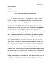 Non Fiction Independent Reading Essay