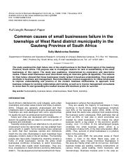 1.0-2012 Common causes of small business failure in the townships of WR district municipality week 7