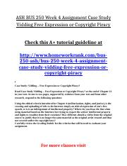 ASH BUS 250 Week 4 Assignment Case Study Vidding Free Expression or Copyright Piracy.doc