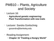 16 - Agricultural Genetic Engineering Plant Transformation with New Traits