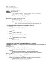 BIO 226 Lecture Test 1 Study Sheet