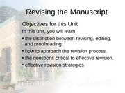 Revising the Manuscript-Part 1