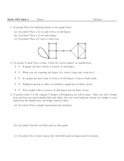 Quiz 1 on Excursions in Mathematics