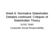 Week 6 Critique of Stakeholder