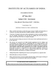 (www.entrance-exam.net)-Institute of Actuaries of India-Subject SA6- Investment Sample Paper 1