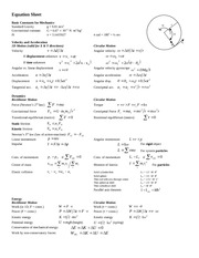Cheat Sheet of Equations for PHYS 131 Final Exam