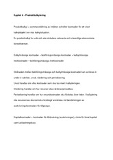 Produktkalkylering - notes