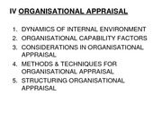 ORGANISATIONAL APPRAISAL 28.01.11