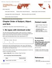 Week 3 WALS Chapter Order of Subject, Object and Verb