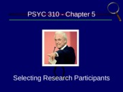 Chapter 5 - Selecting Participants