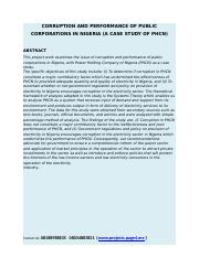 CORRUPTION AND PERFORMANCE OF PUBLIC CORPORATIONS IN NIGERIA.docx