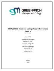 BSBWOR502 - Lead and Manage Team Effectiveness Task 1.docx