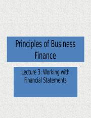 Lecture 3 Working with Financial Statements