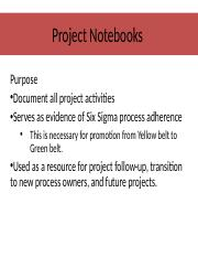 Project Notebook Charter Slides