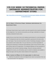CIS 515 WEEK 10 TECHNICAL PAPER DATABASE ADMINISTRATOR FOR DEPARTMENT STORE