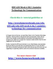 EDU 620 Week 6 DQ 1 Assistive Technology for Communication