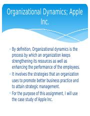 Organizational Dynamics - Organizational Dynamics Apple Inc By
