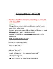 mongo db pdf - Assignment Name MongoDB 1 What are the