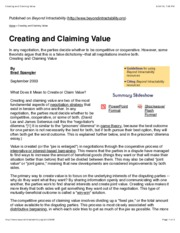 Creating and Claiming Value