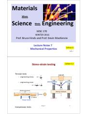 MSE170 Lecture Notes 7 Mechanical Properties