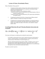 Lecture 10 Notes Perturbation Theory