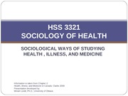 Chapter 2 Sociology of Health_Illness_Medicine _Methodology
