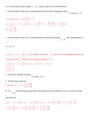 1.3 Linear Relations and Basic Graphs Solutions