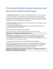 Preparing the Basic Income Statement and Statement of Retained Earnings.docx