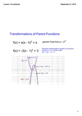 Transformations of Parent Functions