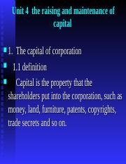 Unit 4  the raising and maintenance of capital(1).ppt