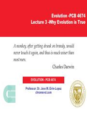 Lecture 3 -Why Evolution is True