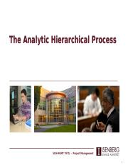 On-Campus Lecture 1b - Analytic Hierarchical Process