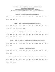Chapter Study Answers - Midterm Exam