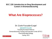 BEC 220 Spring 2015 Lecture 3 What Are Bioprocesses