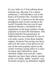 speech on f1