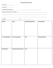 n4551 nursing shift report sheet blank 082012 1 1 allergies wt heent neuro pulmonary. Black Bedroom Furniture Sets. Home Design Ideas