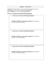 Problem solution essay plan