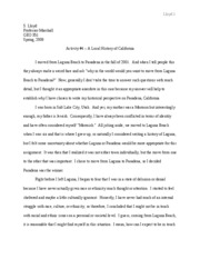 GEO 351 - Writing Activity 4 Local History of California