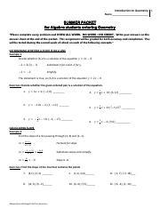 Algebra Summer Packet - GeometryIntro _1_ - Introduction to