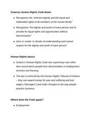Ontarios Human Rights Code Notes