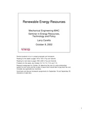 Lecture on Renewable Resources