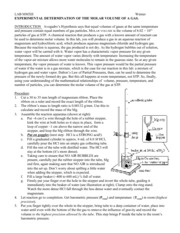 LAB EXPERIMENTAL DETERMINATION OF THE MOLAR VOLUME OF A GAS