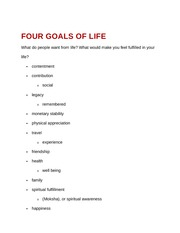 Four Goals of Life