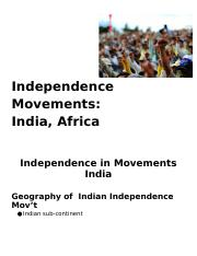 Independence Movements: India & Africa Clozed Notes