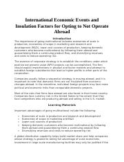 International Economic Events and Insulation Factors for Opting to Not Operate Abroad .docx